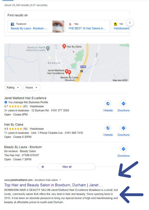 top of google hair salon results