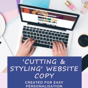 Cutting and styling page salon website copy