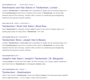 SEO for salons - organic results